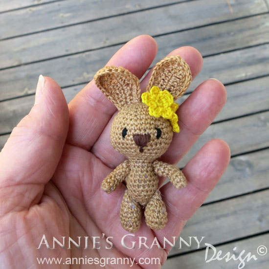 Miniature Amigurumi Bunny - pattern by Racquel Alexia Barrett.