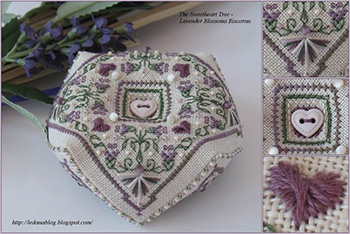 Lavender Blossoms Biscornu by Ledana