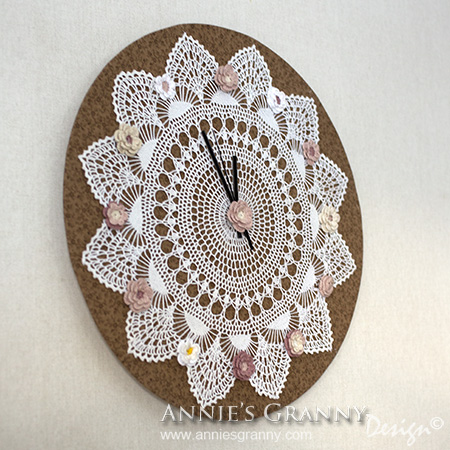 Crochet clock by Annie's Granny Design viewed sideways