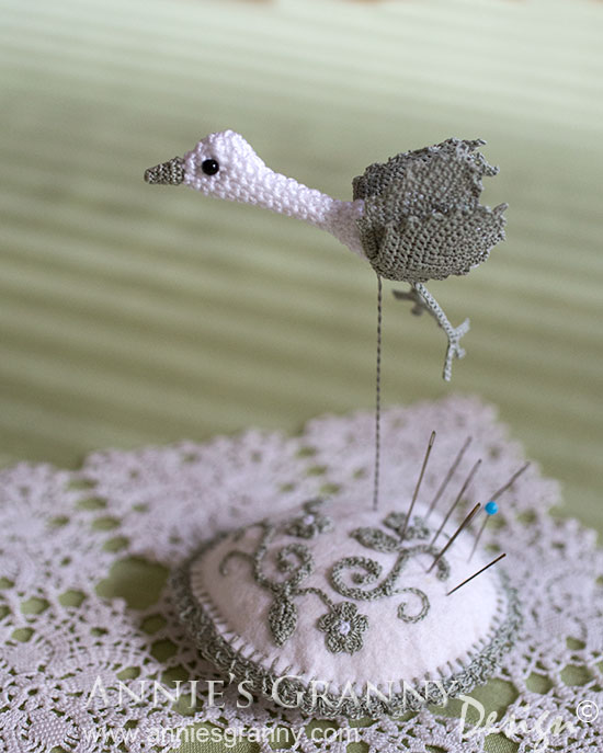 crocheted bird