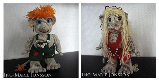 Virkat troll av Ing-Marie Jonsson - design Anita Schaeder