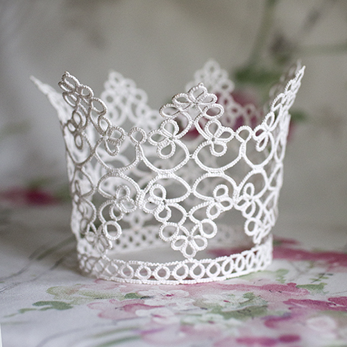tatted bridal crown