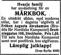 Märkbok av Augusta Abrahamsson - Utgåva 1 - Dagny 1909-12-16