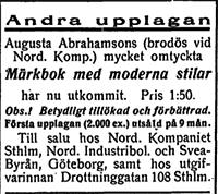 Märkbok av Augusta Abrahamsson - Utgåva 2 - Dagny 1911-01-26