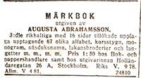 Märkbok av Augusta Abrahamsson - Utgåva 3 - 1912-12-15