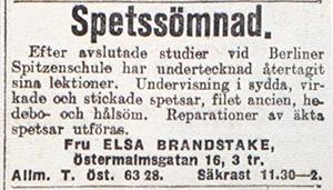 Annons - SVD 1914-01-12 Spetssömnad