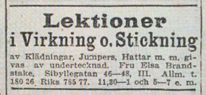 Annons - SVD 1922-02-06 Lektioner-i-virkning-och-stickning