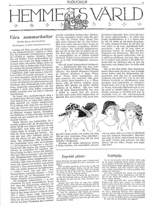Vårt hem 1921 - artikel av Elsa Brandstake