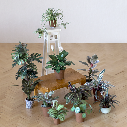 Paper houseplants for dollhouse