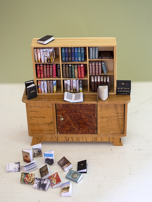 Miniature books on a book shelf